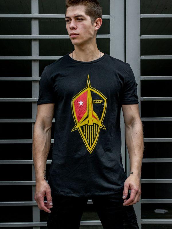 Camiseta Conmemorativa Negro Emblema Transbordador URSS