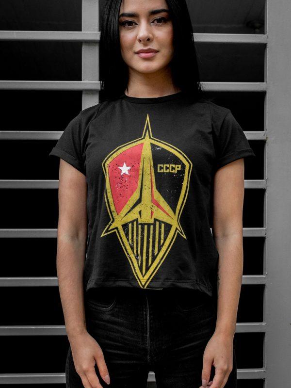 Camiseta Conmemorativa Negro Emblema Transbordador URSS Mujer