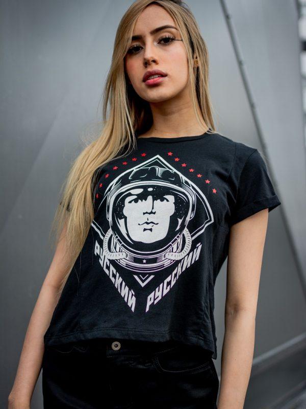 Camiseta Conmemorativa Negro Yuri Gagarin Mujer